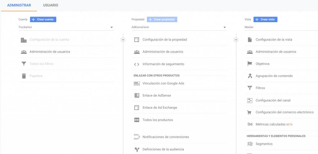 """""""Administración de usuarios"""" disponible en los 3 niveles"""