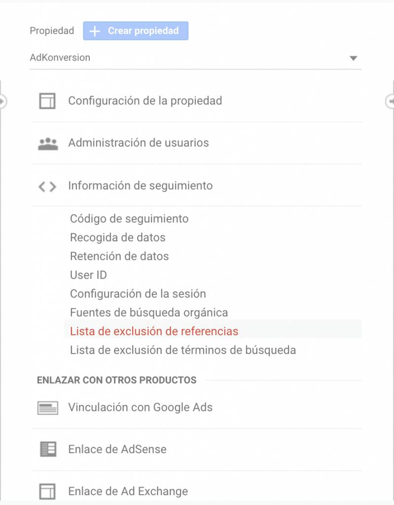 Lista de exclusión de referencias en Google Analytics