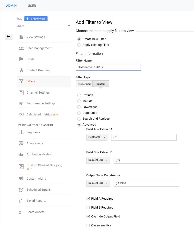 Filtro - URLs con nombre de host