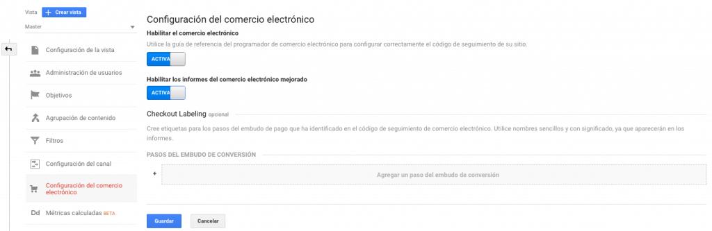 Configuración de seguimiento de comercio electrónico