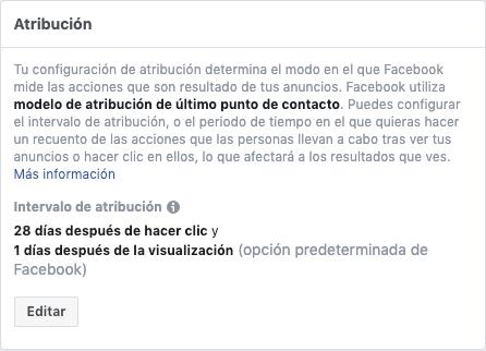Atribución en Facebook - Intervalo de atribución por defecto en Facebooks Ads