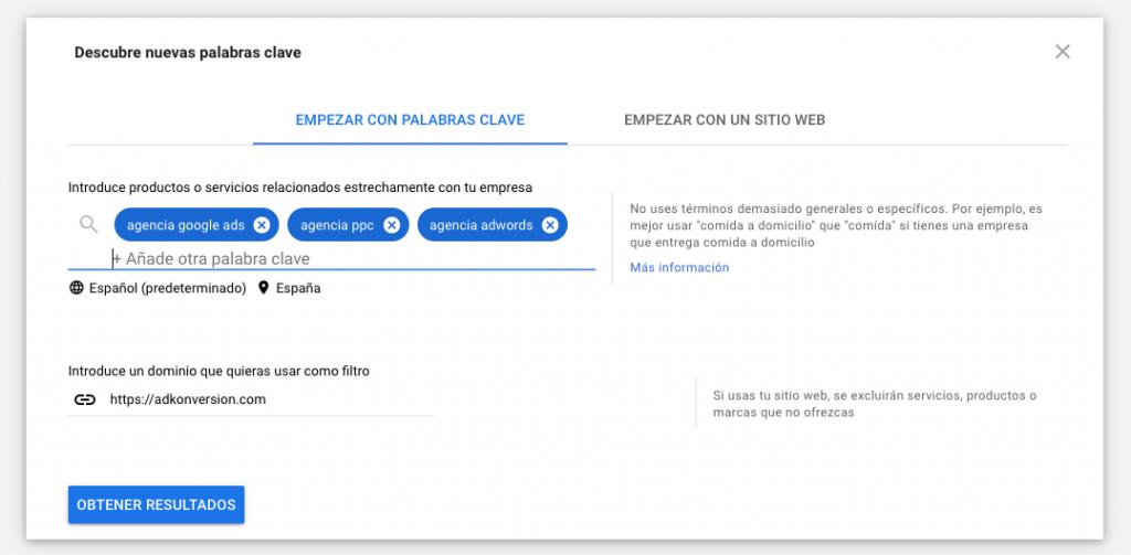 Ejemplo de Palabras Clave en Keyword Planner