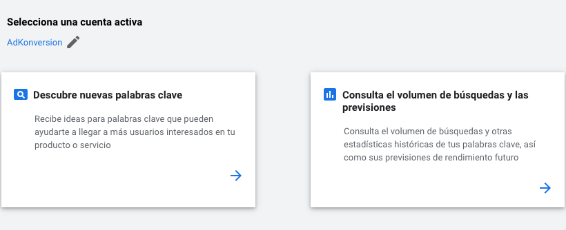 Planificador de Palabras en Google Ads