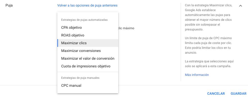 Estrategias de Pujas en Google Ads, opciones