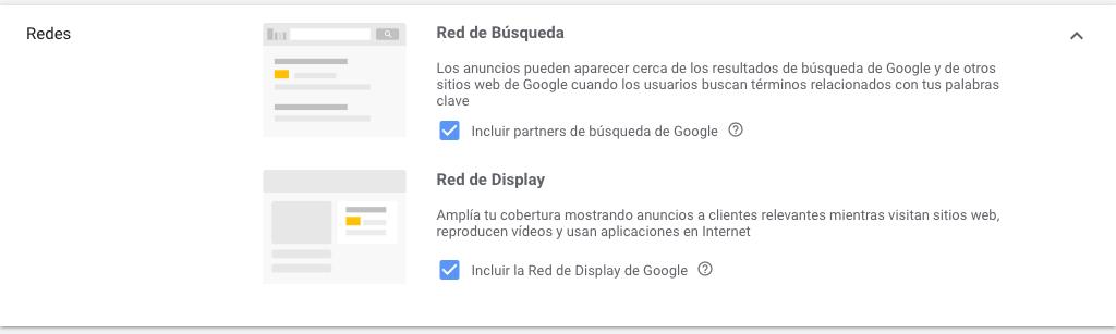 Elegir Red de Búsqueda o Red de Display